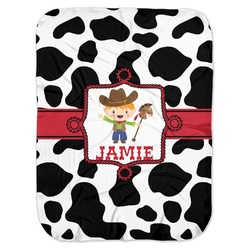 Cowprint w/Cowboy Baby Swaddling Blanket (Personalized)