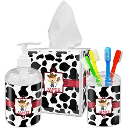 Cowprint w/Cowboy Acrylic Bathroom Accessories Set w/ Name or Text