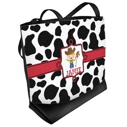 Cowprint w/Cowboy Beach Tote Bag (Personalized)