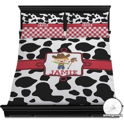 Cowprint w/Cowboy Duvet Cover Set (Personalized)