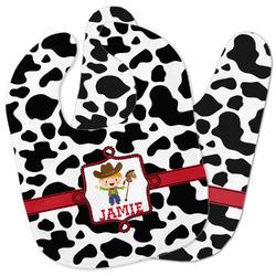 Cowprint w/Cowboy Baby Bib w/ Name or Text