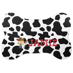 Cowprint w/Cowboy Bone Shaped Dog Food Mat (Personalized)