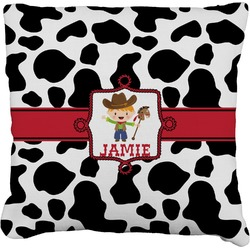 Cowprint w/Cowboy Faux-Linen Throw Pillow (Personalized)