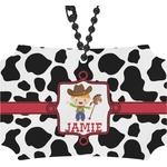 Cowprint w/Cowboy Rear View Mirror Ornament (Personalized)