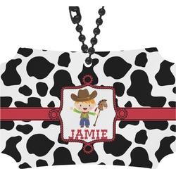 Cowprint w/Cowboy Rear View Mirror Ornament (Personalized)