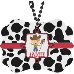 Cowprint w/Cowboy Rear View Mirror Decor (Personalized)