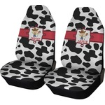 Cowprint w/Cowboy Car Seat Covers (Set of Two) (Personalized)