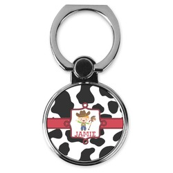 Cowprint w/Cowboy Cell Phone Ring Stand & Holder (Personalized)