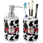 Cowprint w/Cowboy Bathroom Accessories Set (Ceramic) (Personalized)