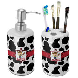 Cowprint w/Cowboy Bathroom Accessories Set (Ceramic) (Personalized)