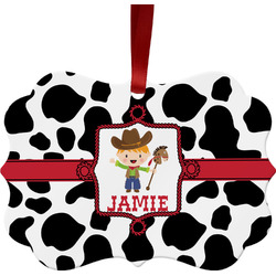 Cowprint w/Cowboy Ornament (Personalized)