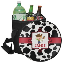 Cowprint w/Cowboy Collapsible Cooler & Seat (Personalized)