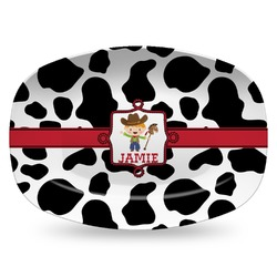 Cowprint w/Cowboy Plastic Platter - Microwave & Oven Safe Composite Polymer (Personalized)