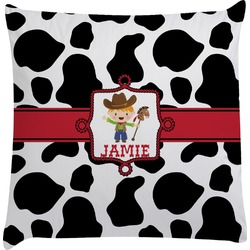 Cowprint w/Cowboy Decorative Pillow Case (Personalized)