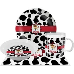 Cowprint w/Cowboy Dinner Set - 4 Pc (Personalized)