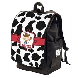 Cowprint w/Cowboy Backpack w/ Front Flap  (Personalized)