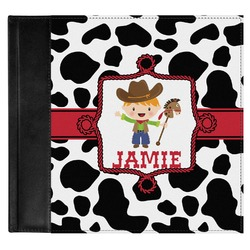 Cowprint w/Cowboy Genuine Leather Baby Memory Book (Personalized)