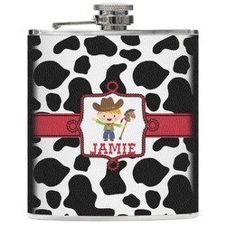 Cowprint w/Cowboy Genuine Leather Flask (Personalized)
