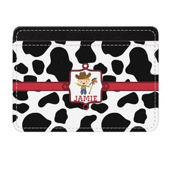 Cowprint w/Cowboy Genuine Leather Front Pocket Wallet (Personalized)