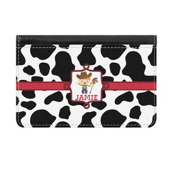 Cowprint w/Cowboy Genuine Leather ID & Card Wallet - Slim Style (Personalized)
