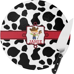 Cowprint w/Cowboy Round Glass Cutting Board (Personalized)