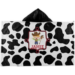 Cowprint w/Cowboy Kids Hooded Towel (Personalized)