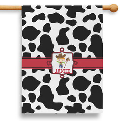 """Cowprint w/Cowboy 28"""" House Flag - Double Sided (Personalized)"""