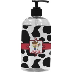 Cowprint w/Cowboy Plastic Soap / Lotion Dispenser (Personalized)