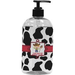 Cowprint w/Cowboy Plastic Soap / Lotion Dispenser (16 oz - Large) (Personalized)