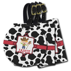 Cowprint w/Cowboy Plastic Luggage Tags (Personalized)