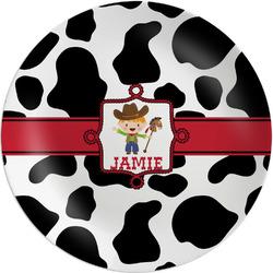 Cowprint w/Cowboy Melamine Plate (Personalized)