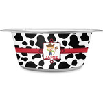 Cowprint w/Cowboy Stainless Steel Dog Bowl (Personalized)