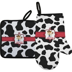 Cowprint w/Cowboy Oven Mitt & Pot Holder (Personalized)