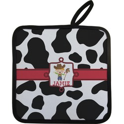 Cowprint w/Cowboy Pot Holder (Personalized)