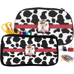 Cowprint w/Cowboy Pencil / School Supplies Bag (Personalized)