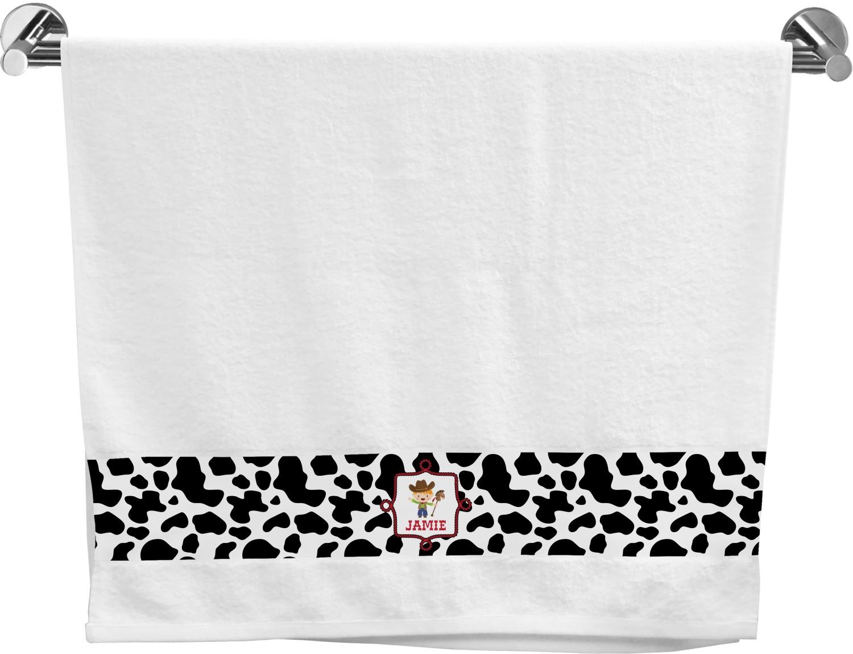 Cowprint w/Cowboy Bath Towel (Personalized) - YouCustomizeIt