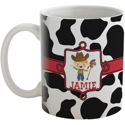 Cowprint w/Cowboy Coffee Mug (Personalized)