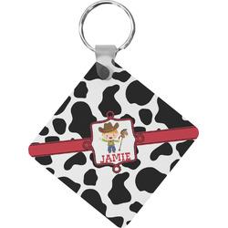 Cowprint w/Cowboy Diamond Key Chain (Personalized)