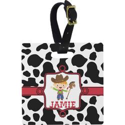 Cowprint w/Cowboy Plastic Luggage Tag - Square w/ Name or Text