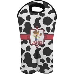 Cowprint w/Cowboy Wine Tote Bag (2 Bottles) (Personalized)