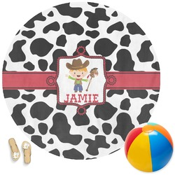 Cowprint w/Cowboy Round Beach Towel (Personalized)