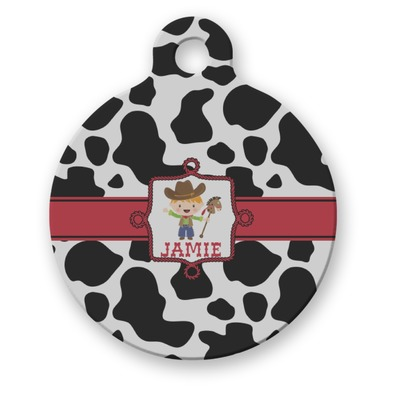 Cowprint w/Cowboy Round Pet Tag (Personalized)