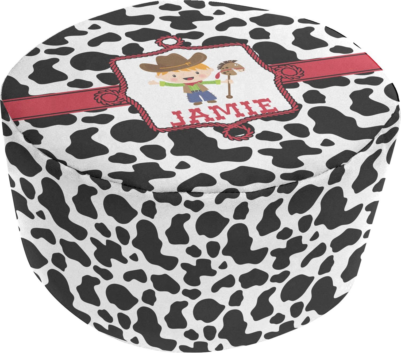 Terrific Cowprint W Cowboy Round Pouf Ottoman Personalized Dailytribune Chair Design For Home Dailytribuneorg