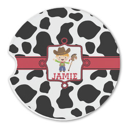 Cowprint w/Cowboy Sandstone Car Coasters (Personalized)