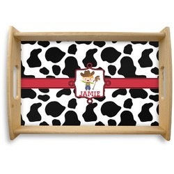 Cowprint w/Cowboy Natural Wooden Tray - Small (Personalized)