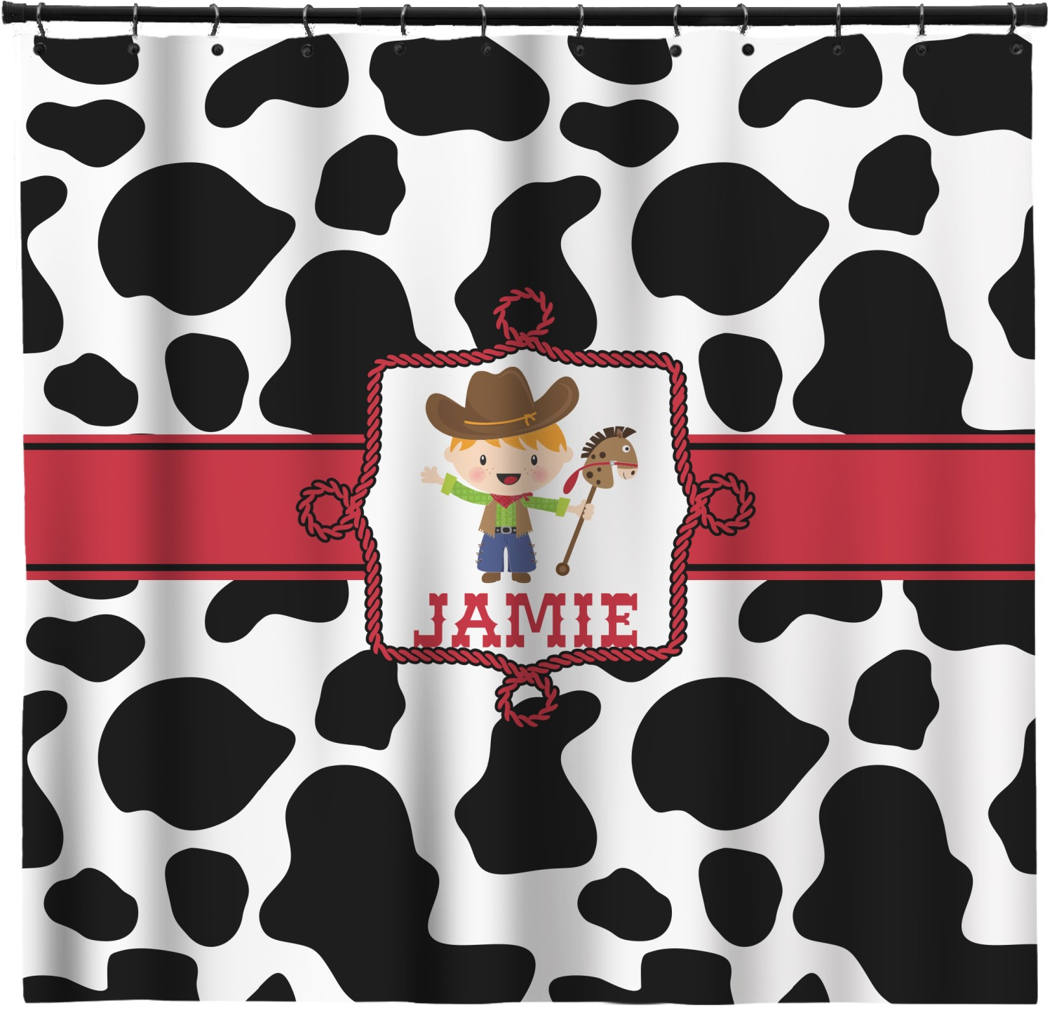 Cowprint W Cowboy Shower Curtain Personalized