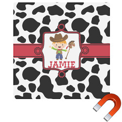 Cowprint w/Cowboy Square Car Magnet (Personalized)