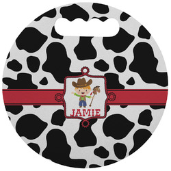 Cowprint w/Cowboy Stadium Cushion (Round) (Personalized)