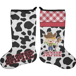 Cowprint w/Cowboy Holiday Stocking - Double-Sided - Neoprene (Personalized)