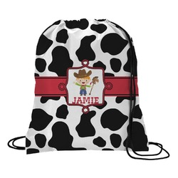 Cowprint w/Cowboy Drawstring Backpack (Personalized)